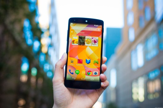 LG Nexus 5, android smartphone with KitKat Operating System.