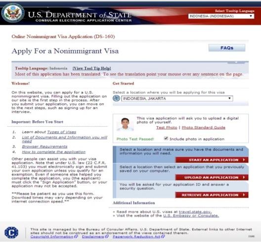 Halaman awal aplikasi visa Amerika