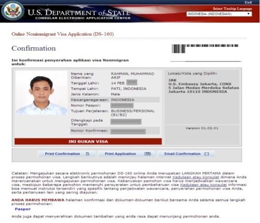 Konfirmasi Visa Amerika