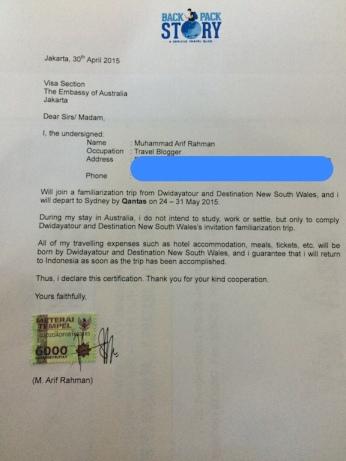 Surat Sponsor Travel Blogger