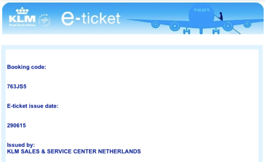 eTicket KLM