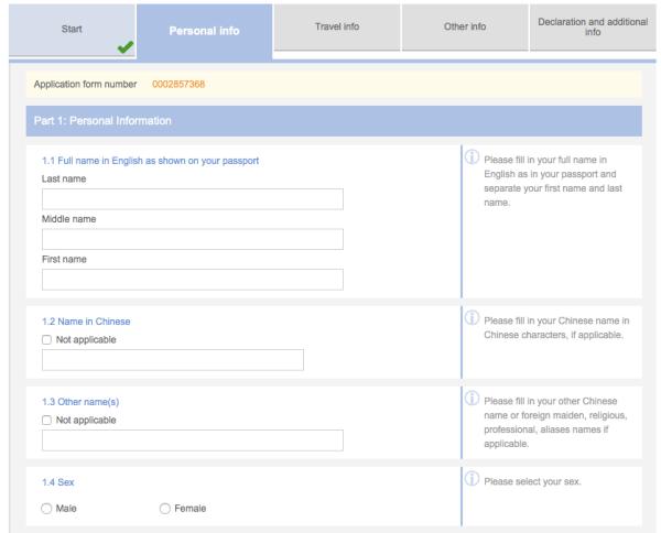 Visa Cina online