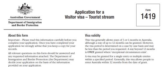 Visitor Visa Australia 1419