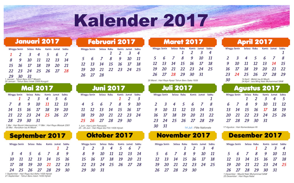 Kalender 2017 Indonesia Backpackstory