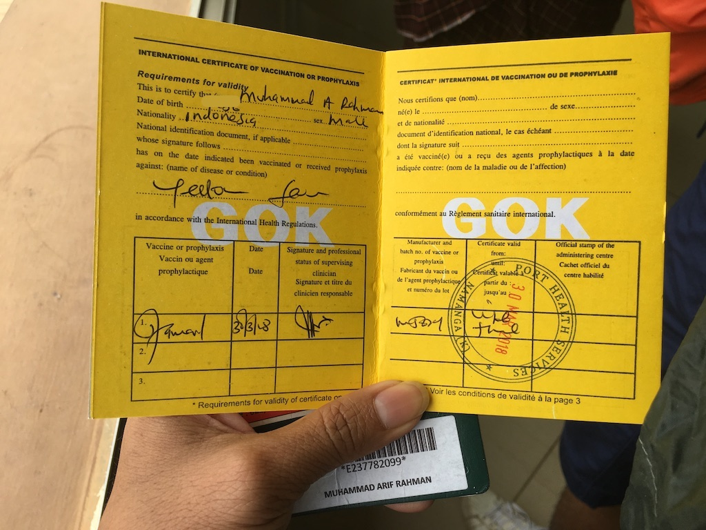 International Certificate Of Vaccination For Yellow Fever Backpackstory