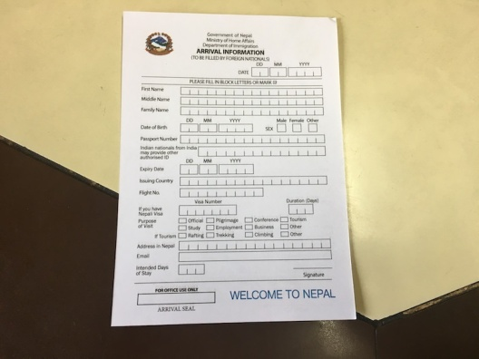 Disembarkation Card Nepal